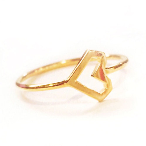 Stacking Ring, Yellow Gold Heart, Vermeil