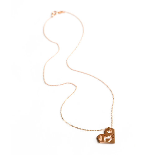 Large Geometric Heart Pendant, Rose Gold Vermeil