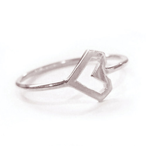 Stacking Ring, Silver Heart, Vermeil