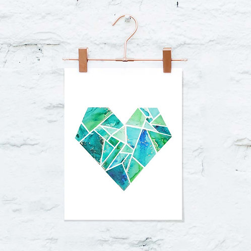 "Heart Watercolor Art Print 5"" x 7"""