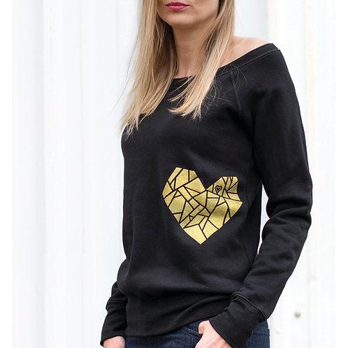 Gold Metallic Geometric Heart Sweatshirt