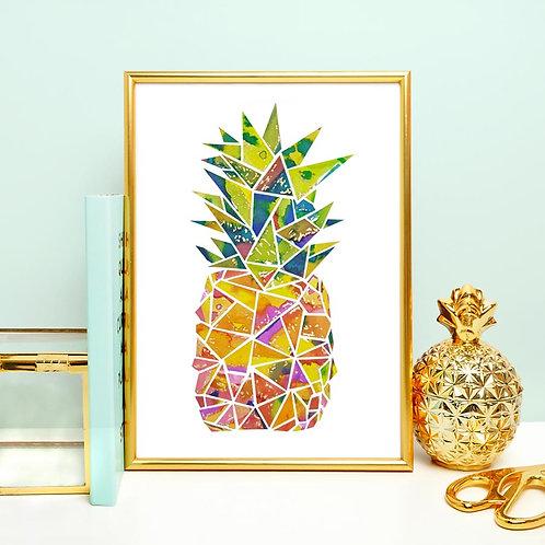"""Pineapple Watercolor Art Print 5"""" x 7"""""""