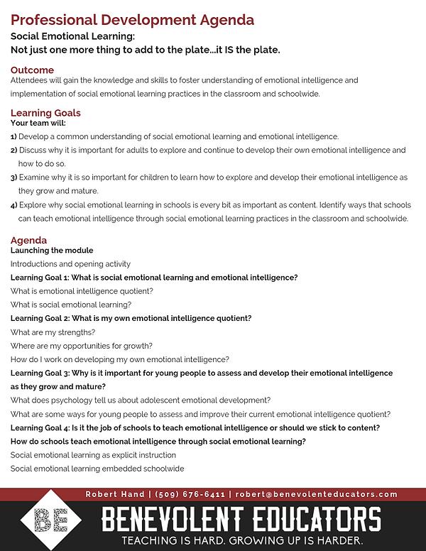Professional Development Agenda - SEL.pn