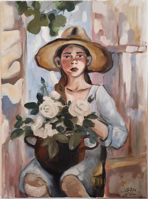 Verano del olor de las rosas blancas.