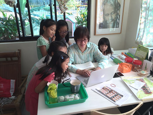 Our founder with students of Greentree Motessori
