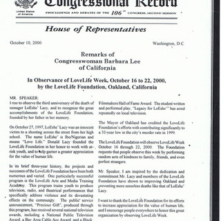 Barbara Lee Proclamation