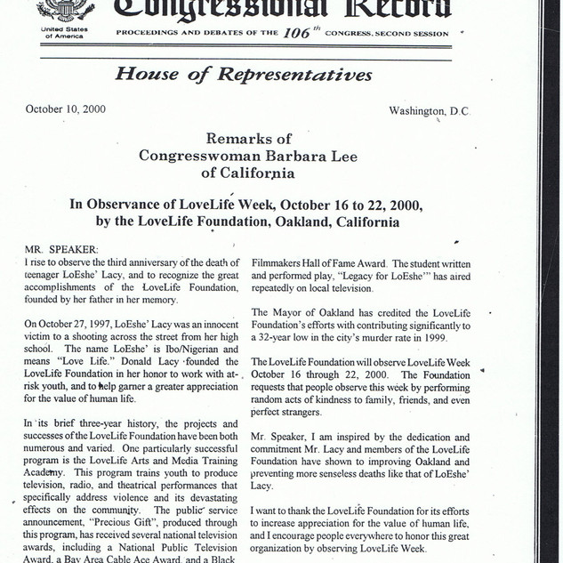Barbara Lee Proclamation