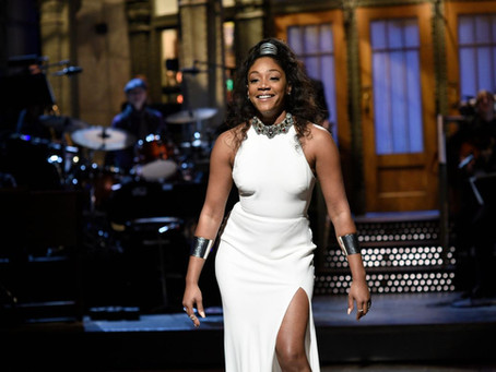Tiffany Haddish Dons Her Classic White High-Slit Dress For the 8th Time In a Recent Photo Shoot