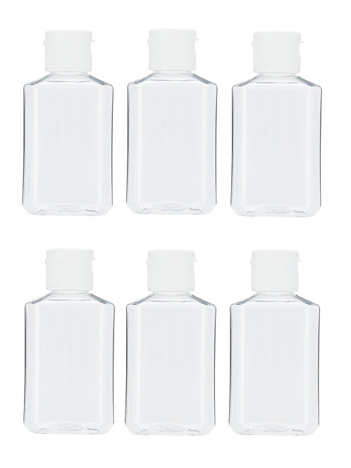 2 oz Clear Plastic Flip-Cap Bottles – TSA-Approved - 6 count