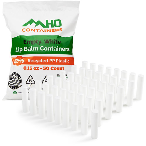 0.15 oz Empty, White Lip Balm Containers - 1,400pcs (28 sets of 50)