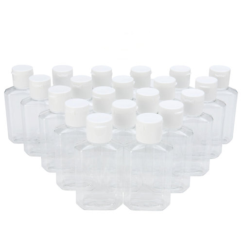2 oz Clear Plastic Flip-Cap Bottles – TSA-Approved - 20 count