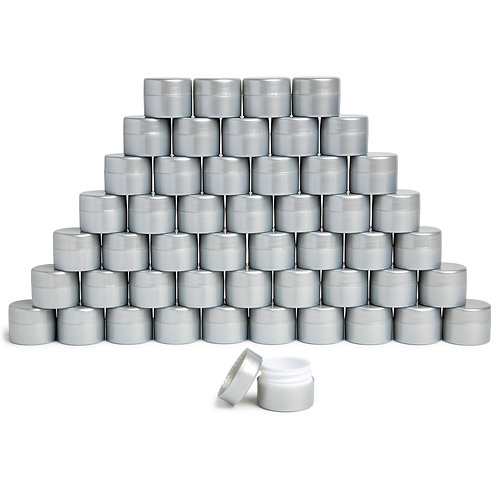 .25oz Silver Pearlized Plastic Cosmetic Dome Jars – Double-Walled (1000 pcs)