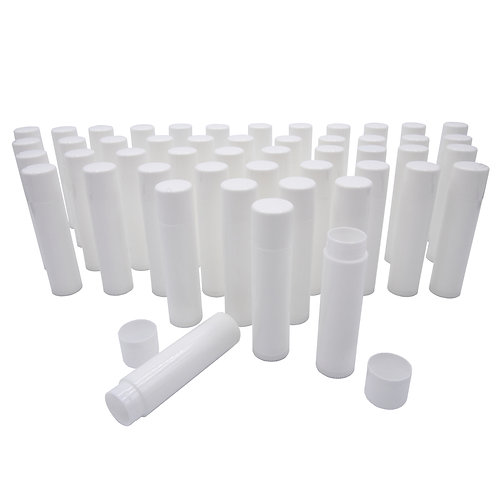0.15 oz Empty, White Lip Balm Containers - 30% Recycled - Made in USA -50 count