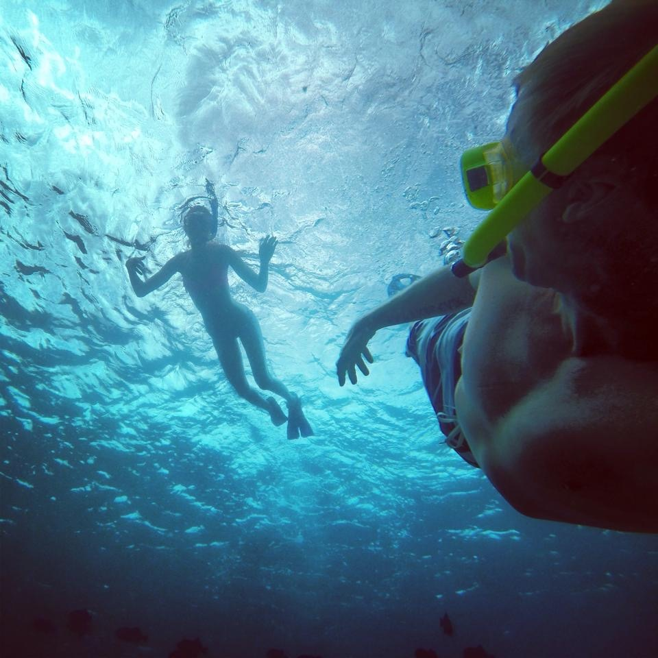 Snorkeling with Karmin on Maui, HI.