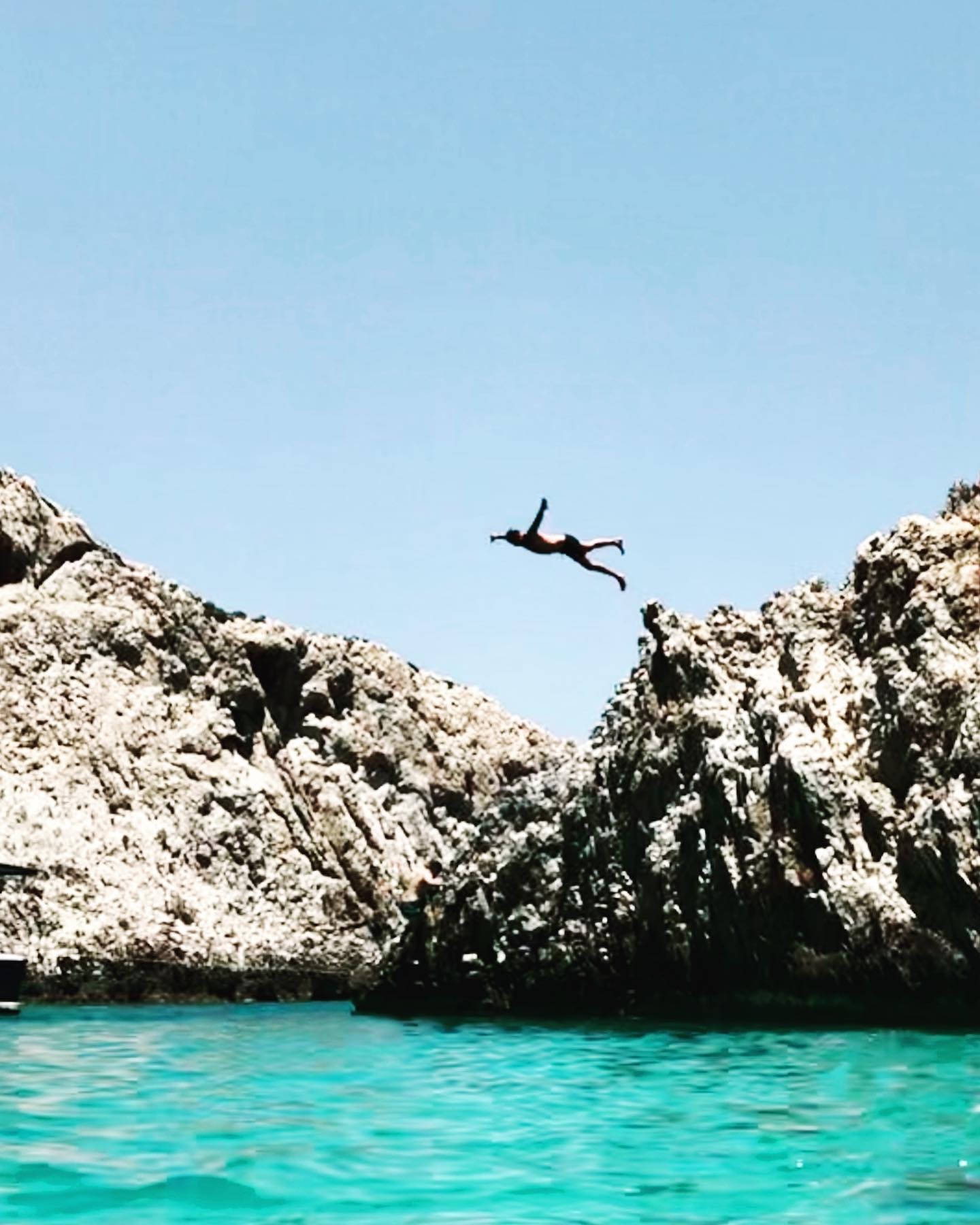 Cliff diving on Crete Island, Greece