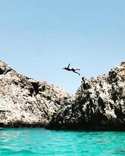 Cliff diving on Crete Island, Greece