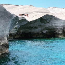 Cliffing diving on Milos Island, Greece
