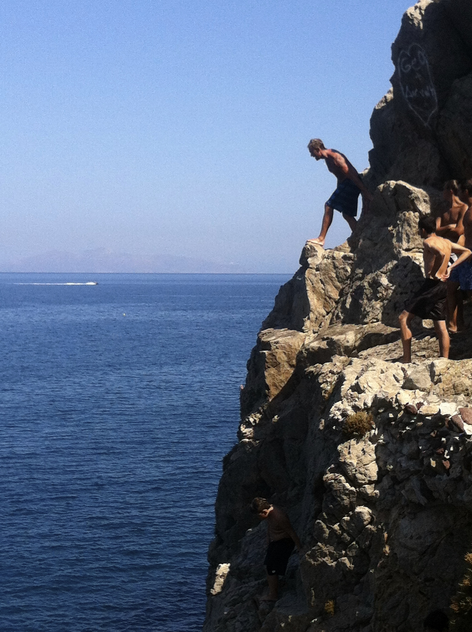 Cliff Diving on Santorini, Greece