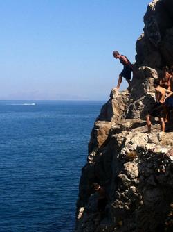 Cliff Diving on Santorini, Greece