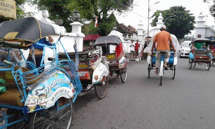 Becak in Yogyakarta near the Kraton