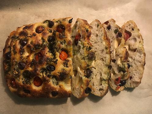 Jalapeño, cheddar, tomato, olive, fresh basil and olive oil focaccia