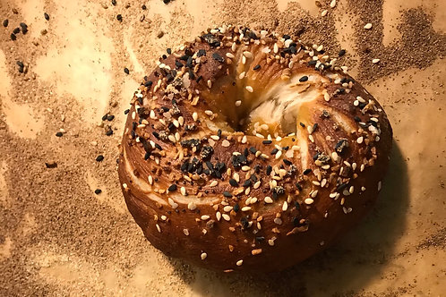 Single  everything seasoning bagel