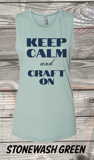 210710.1 Crystal Spangler Keep Calm and Craft On  - Ladies Next Level Sleeveless