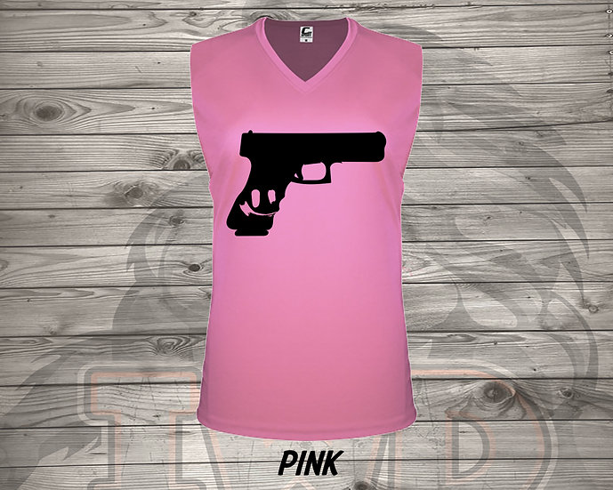 210826.7 Gun Smile - Ladies V- Neck Sleeve
