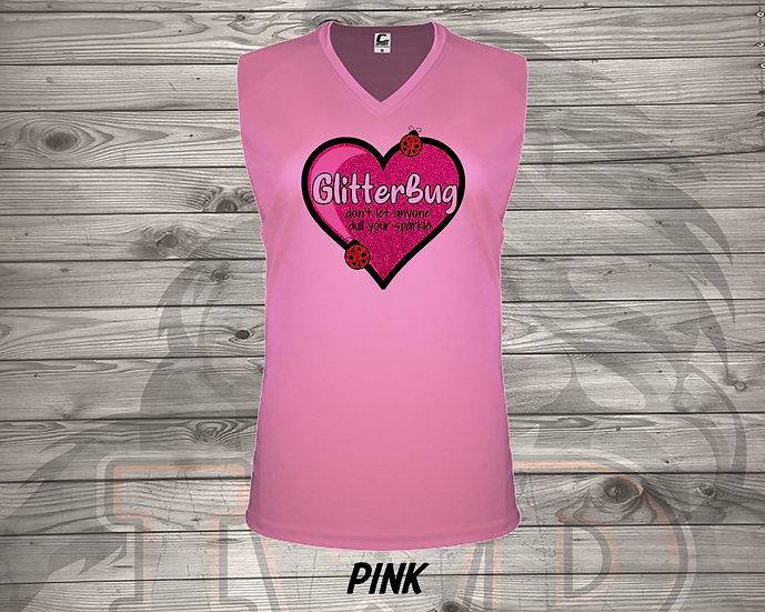 210702.1 Glitterbug Heart- Ladies V- Neck Sleeveless