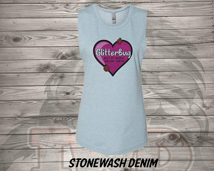 210702.1 Glitterbug Heart - Women's Sleeveless Tank - L