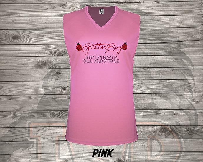 210702.1 - Glitterbug Logo - Ladies V- Neck Sleeveless