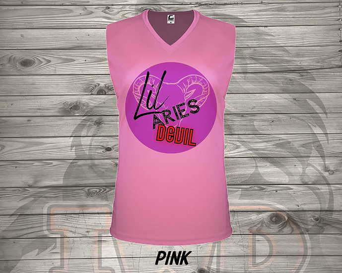 210621.7 - Lil Aries Devil Logo  - Ladies V- Neck Sleeve