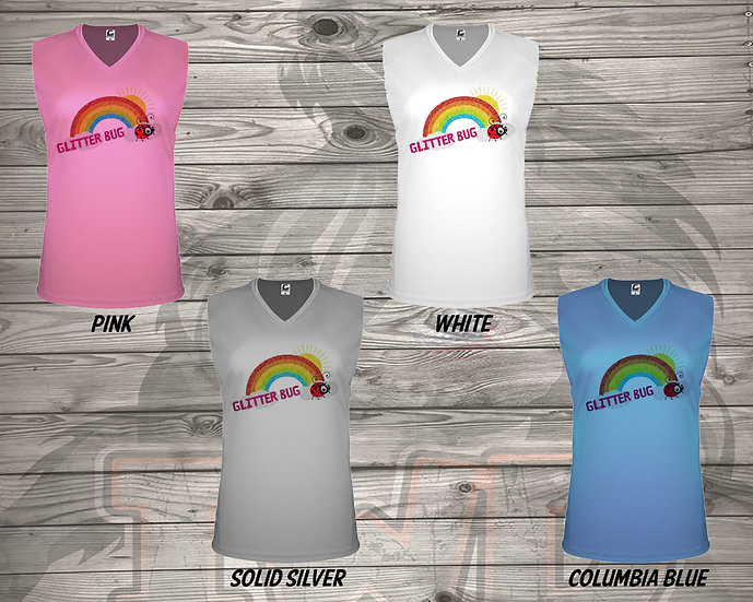 210706.11 - Glitterbug Rainbow - Ladies V- Neck Sleeveless