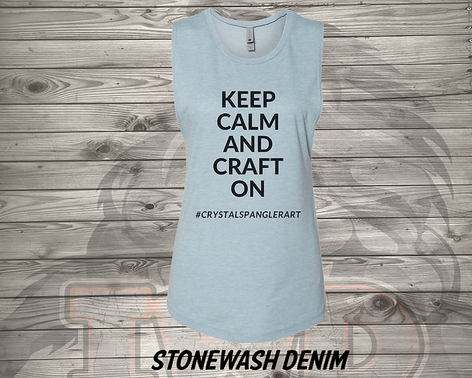 210624.1 - Keep Calm and Craft On - Crystal Spangler - Women's Sleeveless Tan