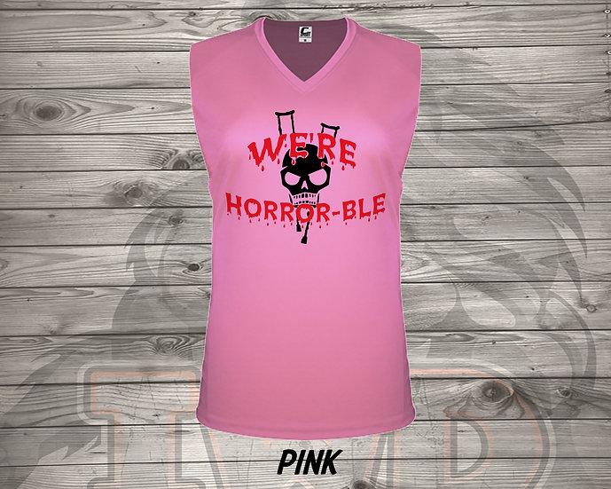 210902.4 We're Horrible Logo - Ladies V- Neck Sleeve