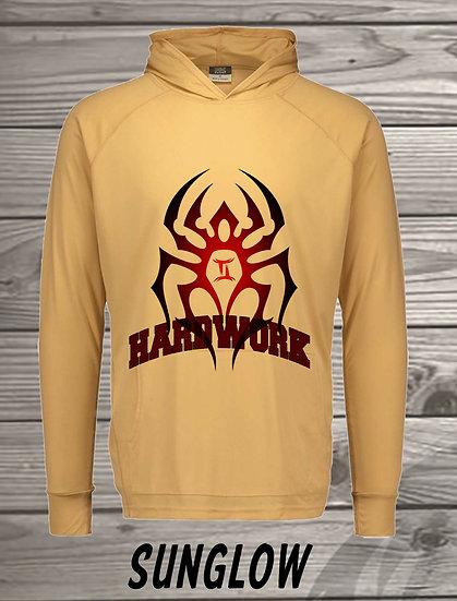 210329.1 The Black Spiderman - Hardwork  - Long Sleeve Hoodie
