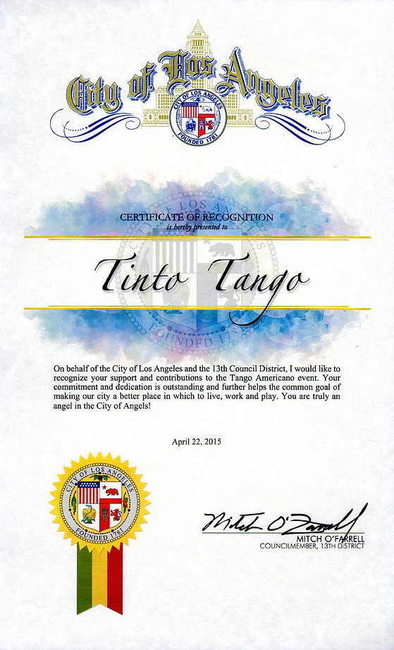 Recognition to TintoTango from the City