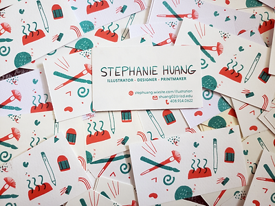 risoprinted business cards by stephanie huang, illustrator, designer, and printmaker