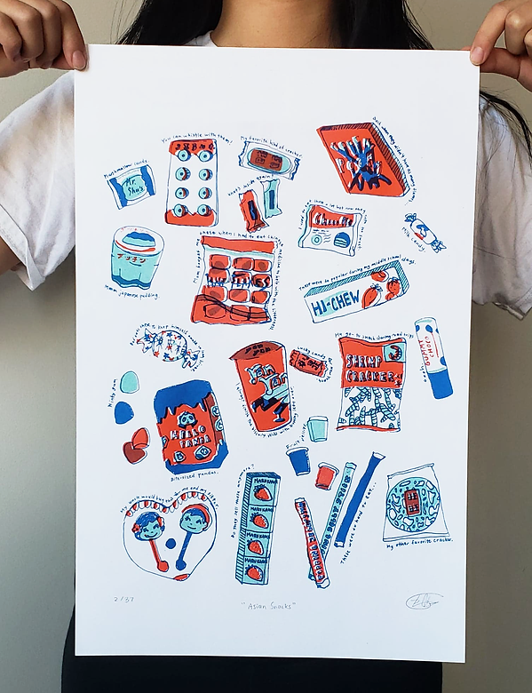 asian japanese chinese snacks risograph print @stephmakesprints