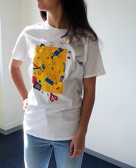 fun screenprinted shirt of artist tools 3 color layer