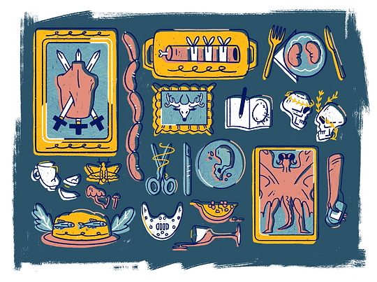 Hannibal illustration of symbols and objects from the tv show, red dragon, broken teacup, broken heart, will's encephalities