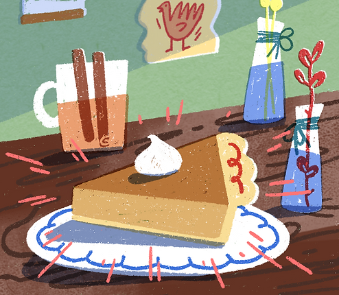 Thanksgiving digital illustration of a slice of pumpkin pie and a cup of apple cider cinnamon