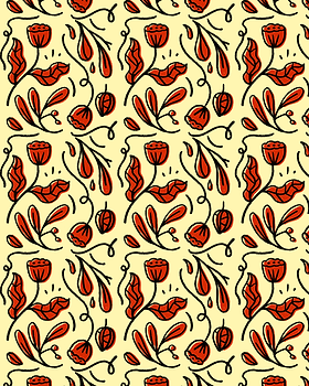 red flower pattern repeat illustration