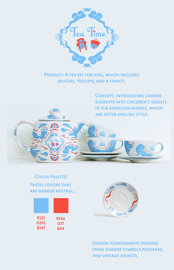 Children's tea set surface design illustration mockup on teacups and saucer with chinese inspired symbols