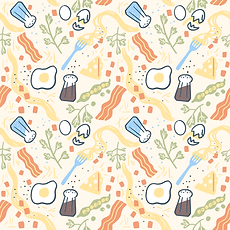 pasta carbonara surface pattern design illustration repeat
