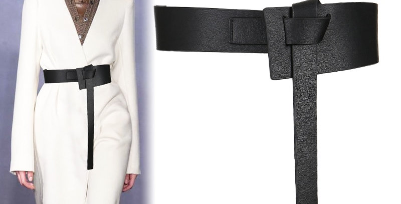 Women Knotted Waistbands Wide Long PU Leather