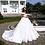 Thumbnail: Pure White Elegant  Satin A-Line Wedding Dress With V-Neckline Off the Shoulder