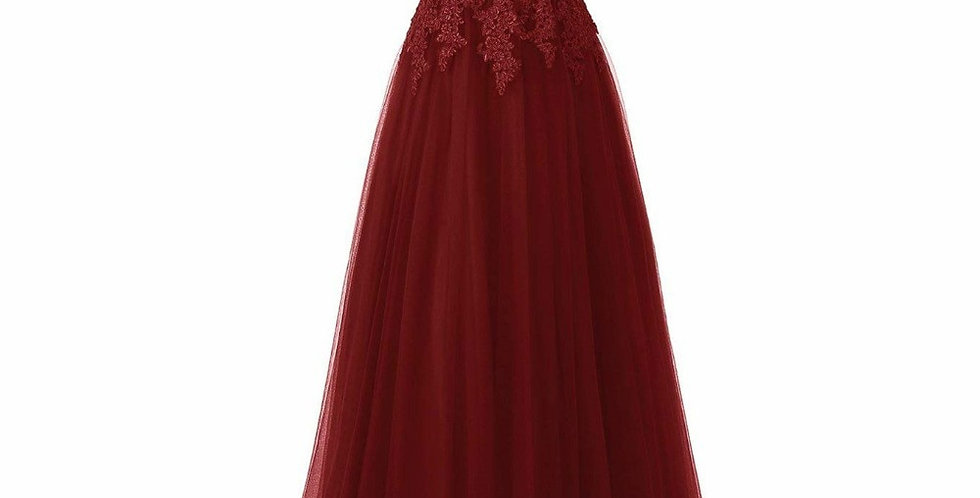 Elegant Long Lace Applique Spaghetti Strap Wedding Party Guest Dress