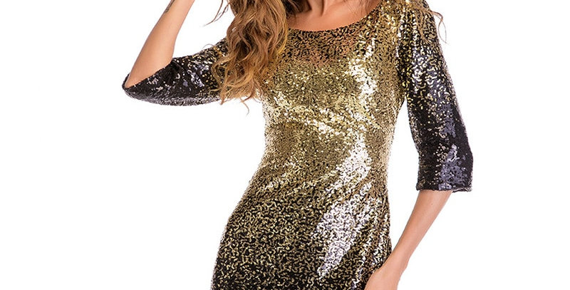 Elegant Bodycon Black Gold Sequin Dress 3/4 Sleeve Backless Evening Party Dress