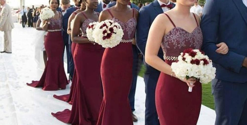 Burgundy Bridesmaid Dress Vintage Lace for Summer Garden Bridesmaid Gown